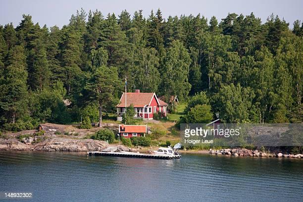idyllic house in stockholm archipelago, near stockholm. - archipelago stock pictures, royalty-free photos & images