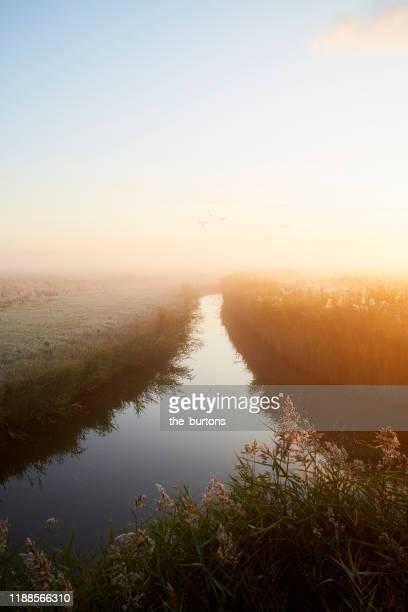idyllic landscape at sunrise, rural scene - paysage enchanteur photos et images de collection