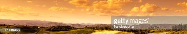Idyllic landscape hills at sunset in Tuscany -Italy