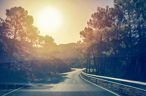 Idyllic landscape of a mountain road on a magical sunny day - gettyimageskorea