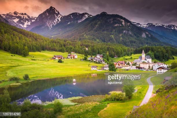 idyllische landschaft – wildblumen und seereflexion im dorf tarasp, engadin – schweiz - dorf stock-fotos und bilder