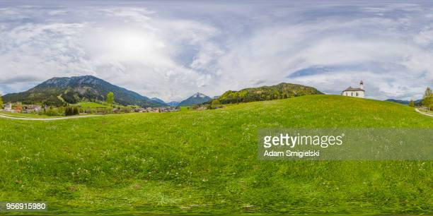 Idyllic landscape with small church in the Alps (360-degree panorama)