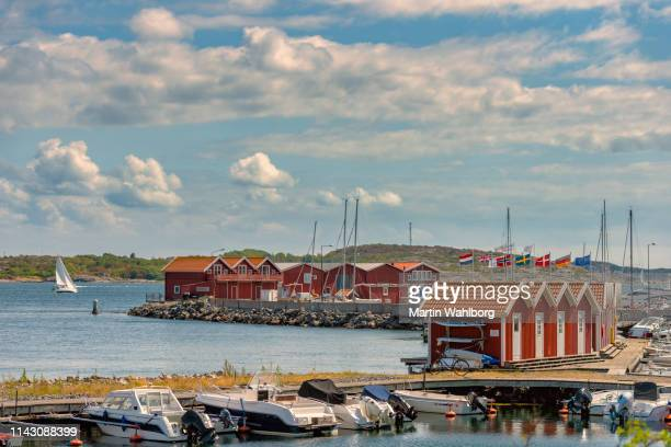 idyllic marina in western sweden - moored stock pictures, royalty-free photos & images