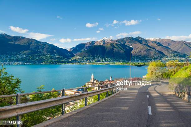 idyllic place at the lake lago maggiore - ticino canton stock pictures, royalty-free photos & images