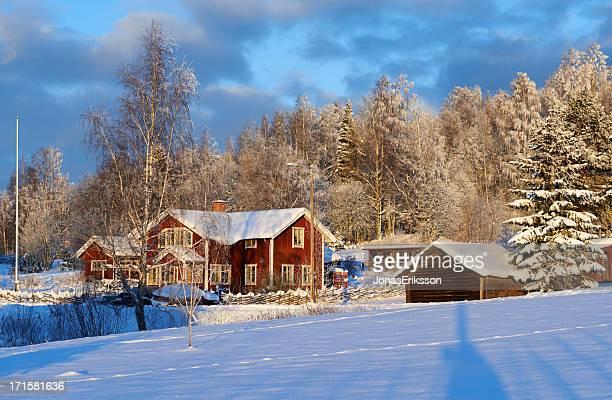 Idyllische Red schwedische Parlament gegen den winter forest
