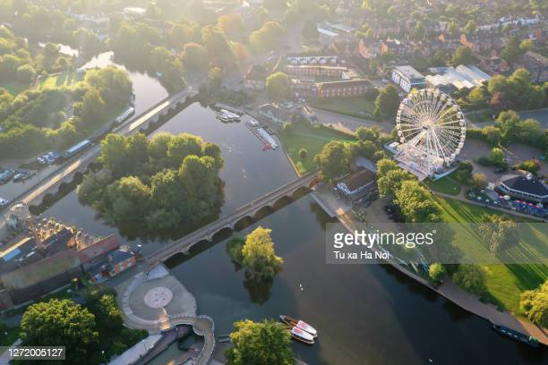 idyllic river avon passing though stratford-upon-avon - town stock pictures, royalty-free photos & images