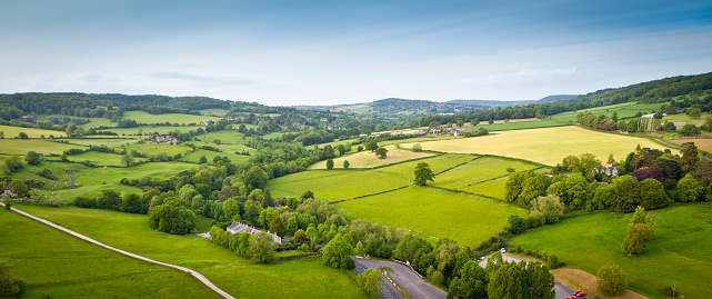 Idyllic rural, aerial view, Cotswolds UK 117144618