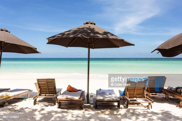 idyllic sai bao beach in phu quoc island in vietnam - chaise longue stock photos and pictures