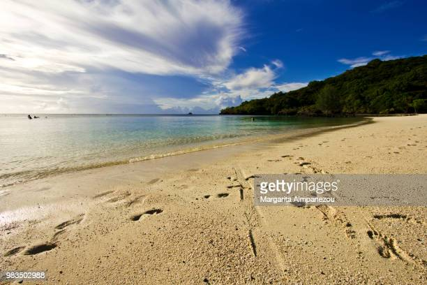 idyllic sandy beach at the tropical island of palau in the pacific ocean - margarita beach stock photos and pictures