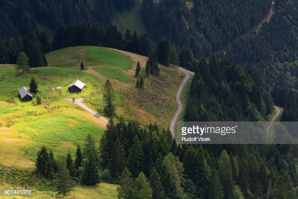 idyllic scenery with high angle view of bavarian and austrian alps - tal stock-fotos und bilder