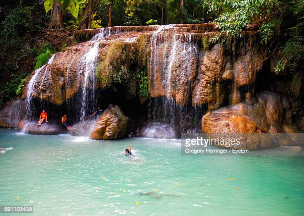 Idyllic Shot Of Erawan Waterfall