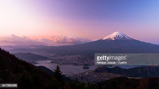 Idyllic Shot Of Mt Fuji Against Purple Sky During Sunset