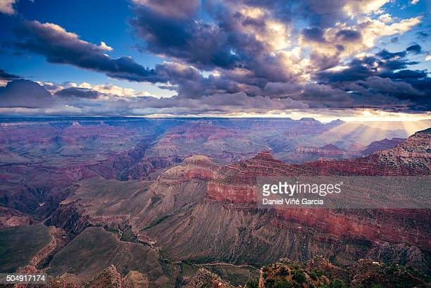 Idyllic Shot Of Rock Formation In Grand Canyon National Park at sunrise, Mather Point, Arizona, USA.