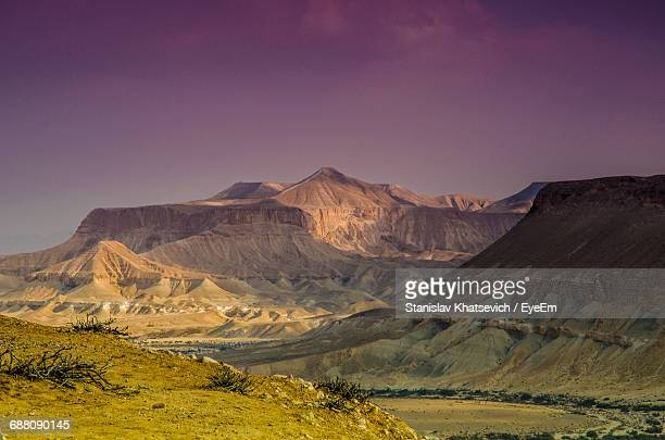 Idyllic Shot Of Rocky Mountains At Negev Against Sky During Sunset