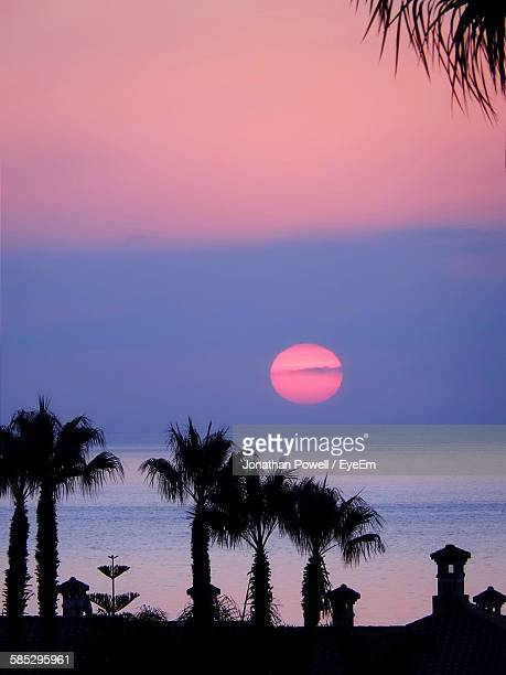 Idyllic Shot Of Silhouette Palm Trees Against Sunset Sky