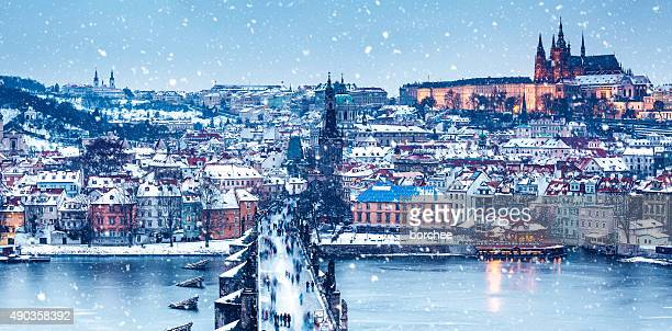 Idyllic Snowy Day In Prague