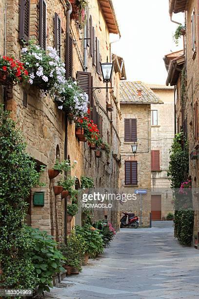 Idyllic street in Pienza, Val d'Orcia Tuscany Italy