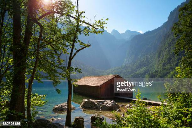 idyllic summer landscape, obersee, bavarian alps - thuringia stock pictures, royalty-free photos & images