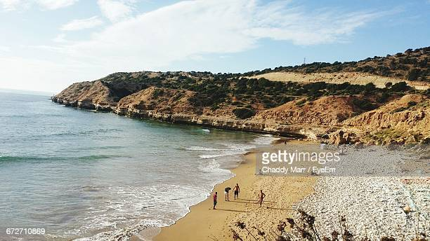 idyllic sunny beach in agadir, morocco - agadir stock pictures, royalty-free photos & images