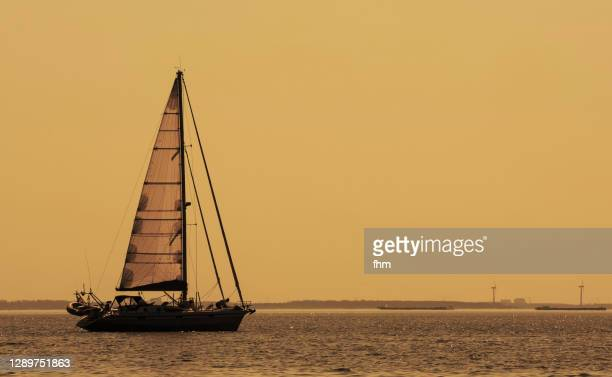 idyllic sunset with a sailboat - 帆船 ストックフォトと画像