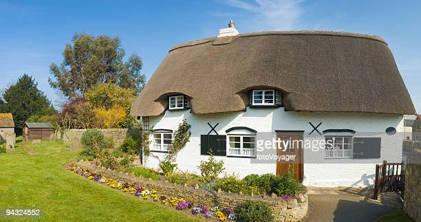 idyllic thatched cottage - english culture stock pictures, royalty-free photos & images