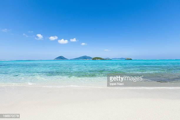 Idyllic tropical beach on deserted coral island