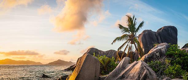 Idyllic Tropical Island Sunset Over Palm Tree Beach Ocean Lagoon Wall Art