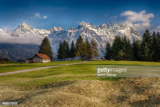 Idyllic upper bavarian alpine landscape near Mittenwald