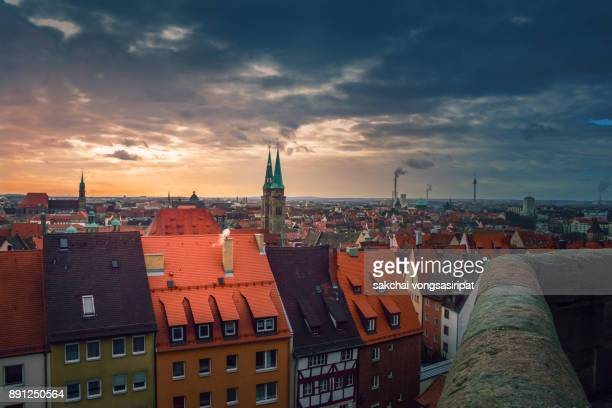 Idyllic View at Old Building in Nuremberg City During Sunset