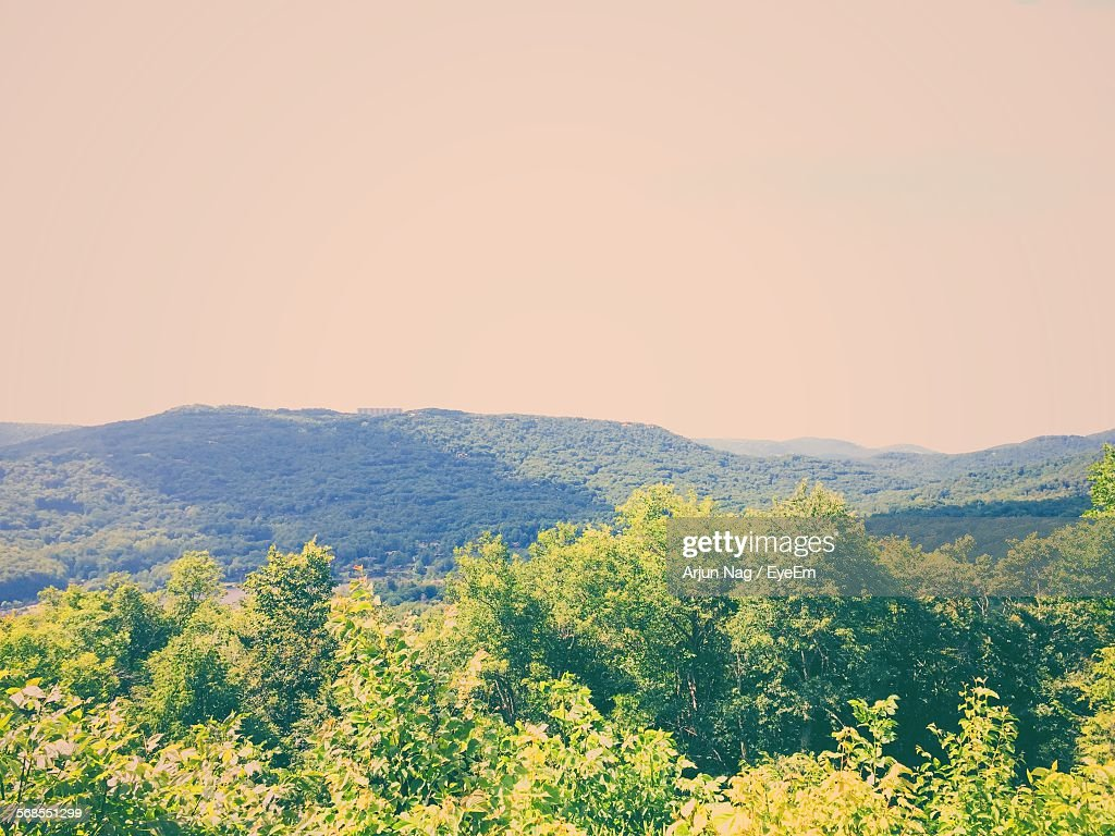 Idyllic View Of Grandfather Mountain Against Clear Sky : Stock Photo