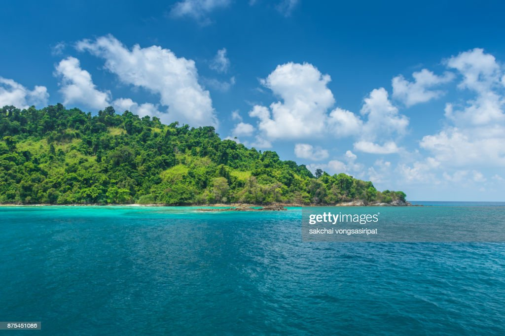 Idyllic View of Koh Chang, Mountains and Clear Sea : Stock Photo