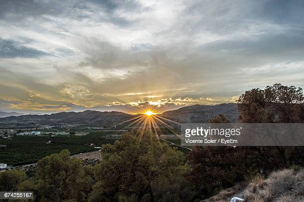 idyllic view of landscape against cloudy sky during sunset - castellon province stock pictures, royalty-free photos & images