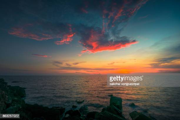 Idyllic View of Sea Against Dramatic Sky During Sunset in Chanthaburi, Thailand.