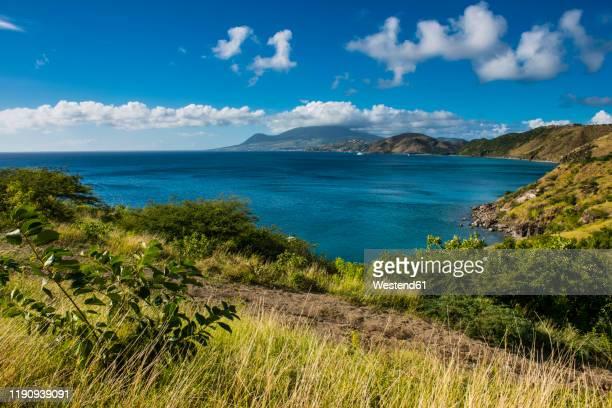 idyllic view over south peninsula of st. kitts, st. kitts and nevis, caribbean - シント・ユースタティウス島 ストックフォトと画像