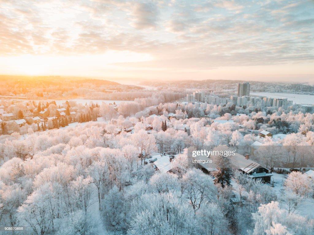 Idyllic winter Turku city (Finland) sunrise with a frost on the trees : Stock Photo
