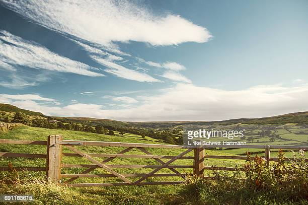 idyllica rural scene with wooden fence and fields - hek stockfoto's en -beelden