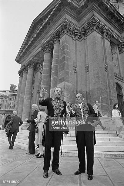 Ieoh Ming Pei and architect Guillaume Gillet outside the coupola