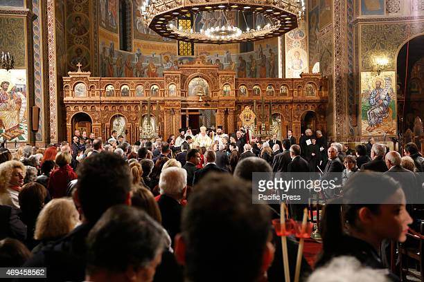 CHURCH ATHENS ATTICA GREECE Ieronymos II the Archbishop of Athens and All Greece and primate of the Orthodox Church of Greece emerges with other...