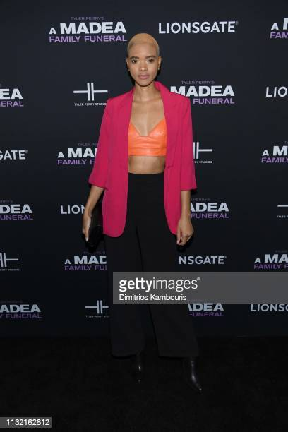 Iesha Hodges attends a screening for Tyler Perry's A Madea Family Funeral at SVA Theater on February 25 2019 in New York City