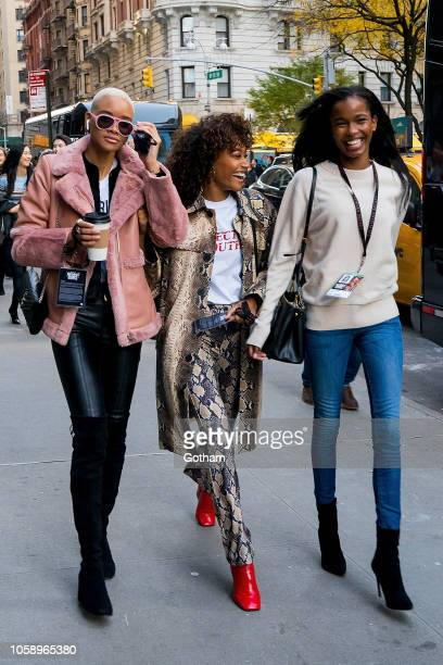Iesha Hodges Cheyenne MayaCarty and Isilda Moreiraattend rehearsals for the 2018 Victoria's Secret Fashion Show in Midtown on November 7 2018 in New...