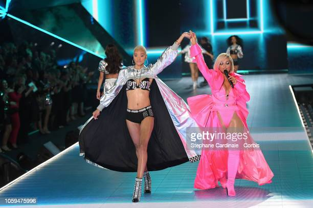 Iesha Hodges walks the runway as Bebe Rexha performs during the 2018 Victoria's Secret Fashion Show at Pier 94 on November 8 2018 in New York City