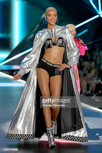 Iesha Hodges walks the runway wearing Swarovski in the 2018 Victoria's Secret Fashion Show at Pier 94 on November 8 2018 in New York City