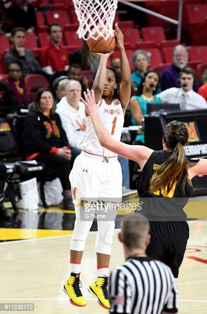 Ieshia Small of the Maryland Terrapins shoots the ball against the Iowa Hawkeyes at Xfinity Center on January 4 2018 in College Park Maryland