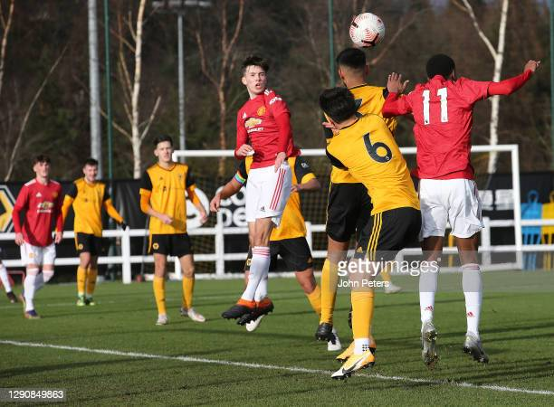 Iestyn Hughes of Manchester United U18s in action during the U18 Premier League match between Wolverhampton Wanderers U18s and Manchester United U18s...