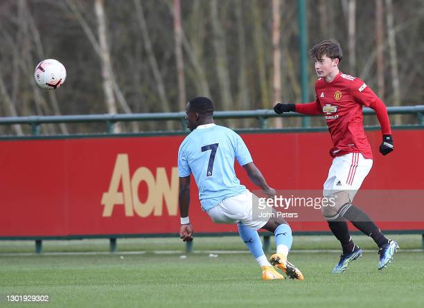 Iestyn Hughes of Manchester United U18s in action during the U18 Premier League match between Manchester United U18s and Manchester City U18s at Aon...