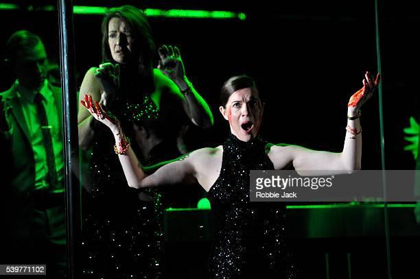 Iestyn Morris as Peisander Pamela Helen Stephen as Penelope and Ruby Hughes as Minerva in English National Opera's production of Claudio Monteverdi's...