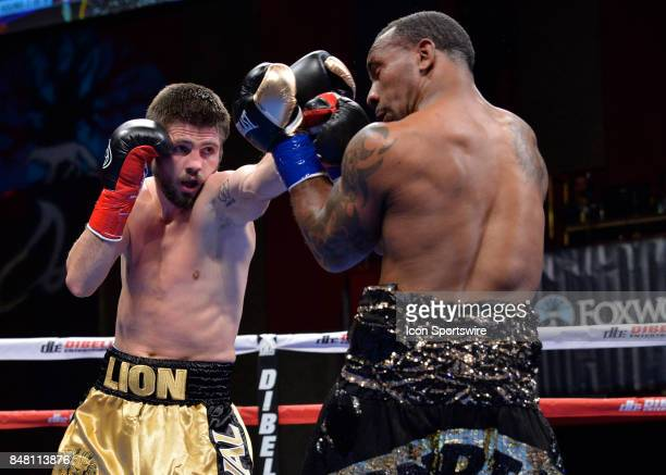 Ievgen Khytrov battles Derrick Findley during their Super Middleweight bout on September 15 2017 at the Foxwoods Fox Theater in Mashantucket...