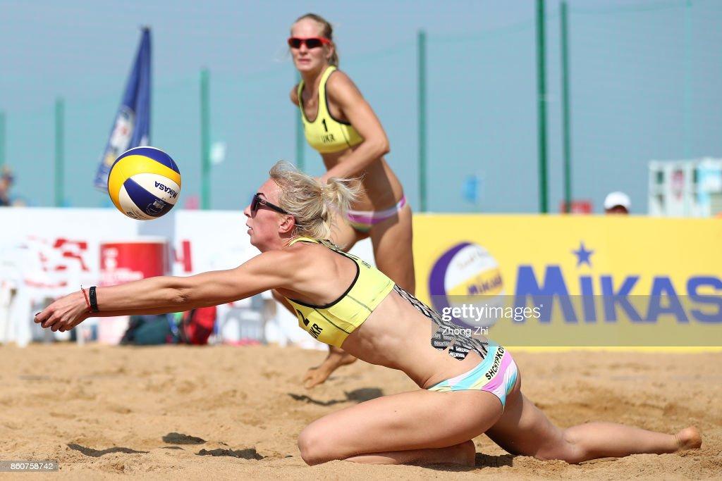 Ievgeniia Shchypkovaz of Ukraine in action with Valentyna Davidova of Ukraine during the match against Martina Bonnerova and Sarka Nakladalova of Czech Republic on Day 3 of 2017 FIVB Beach Volleyball World Tour Qinzhou Open on October 13, 2017 in Qinzhou, China.