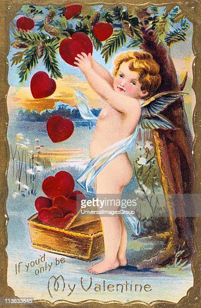 If You'd Only Be My Valentine' 1910 Cupid is gathering a basket of red hearts from a Pine tree which in the language of flowers represents Daring In...
