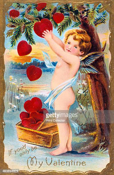 'If You'd Only Be My Valentine' American Valentine card 1910 Cupid is gathering a basket of red hearts from a pine tree which in the language of...
